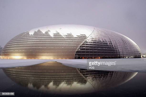 A general view of the National Grand Theater covered by snow is seen on January 3 2010 in Beijing China The biggest snowfall in nearly 60 years has...