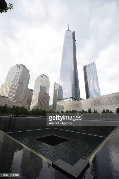 A general view of the National September 11 Memorial and the One World Trade Centre Building on September 8 2013 in New York NY Following the 9/11...