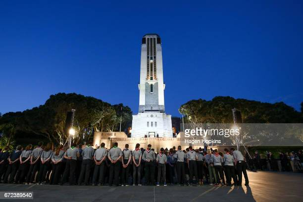 A general view of the National War Memorial Carillon during Anzac Day dawn service at Pukeahu National War Memorial Park on April 25 2017 in...