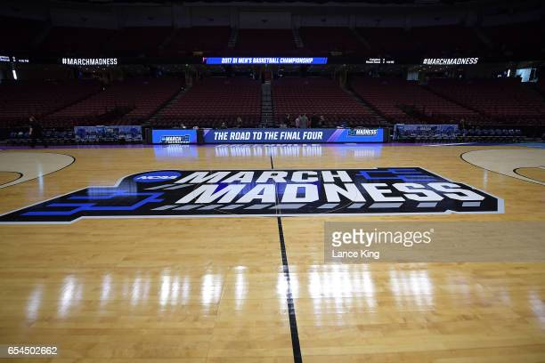 A general view of the NCAA March Madness logo at center court during the first round of the 2017 NCAA Men's Basketball Tournament at Bon Secours...