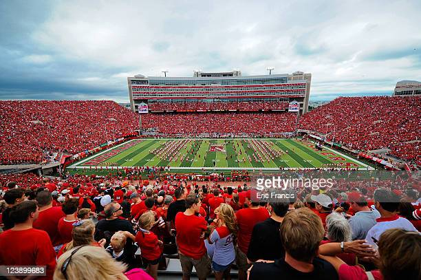 General view of the Nebraska Cornhusker Marching Band takes the field before the start of the football game between the Nebraska Cornhuskers and the...