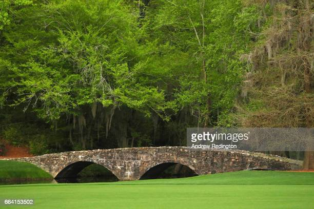 A general view of the Nelson Bridge during a practice round prior to the start of the 2017 Masters Tournament at Augusta National Golf Club on April...