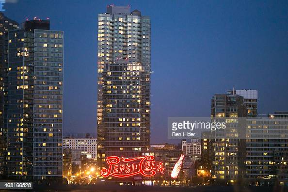A general view of the neon PepsiCola in Gantry Plaza State Park in Long Island City on March 23 2015 in New York City The sign was constructed in...