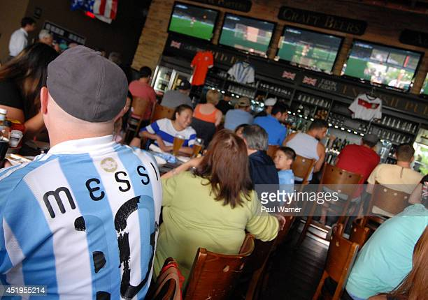 General view of the Netherlands vs Argentina World Cup semifinal match viewing party at the Red Fox English Pub on July 9 2014 in Royal Oak Michigan