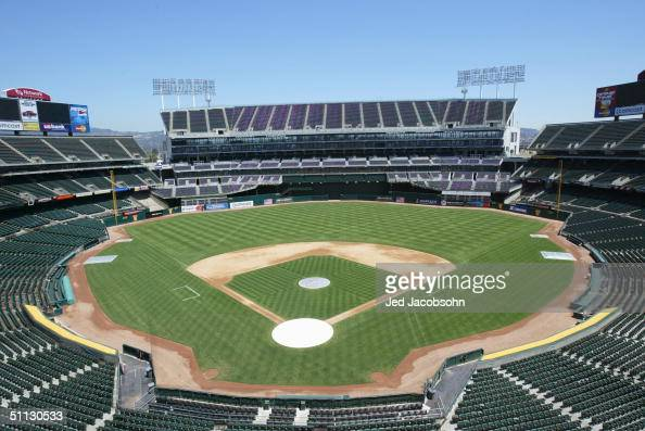 General view of the Network Associates Coliseum home of the Oakland Athletics on July 21 2004 in Oakland California