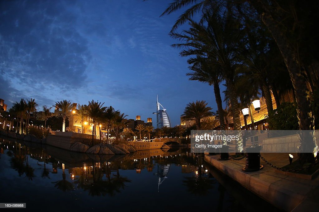 A general view of the networking after party at the end of the first day of Dubai Lynx 2013 at Madinat Jumeirah, with the 7* Burj Al Arab hotel in the background, on March 10, 2013 in Dubai, United Arab Emirates.