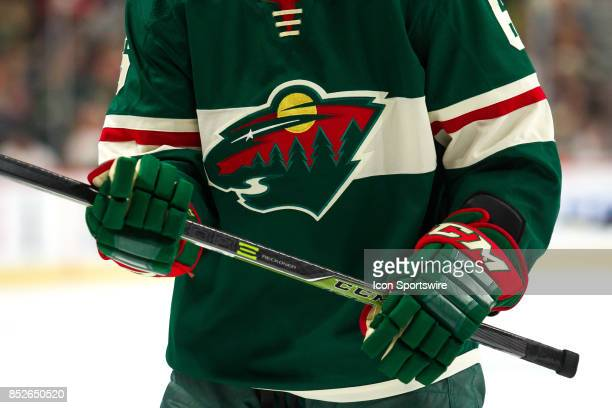 A general view of the new Adidas uniforms for the Minnesota Wild during the preseason game between the Colorado Avalanche and the Minnesota Wild on...