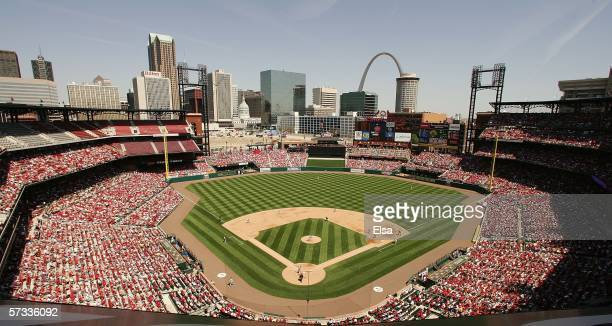 A general view of the new Busch Stadium as the Milwaukee Brewers take on the St Louis Cardinals on April 13 2006 at the Busch Stadium in St Louis...
