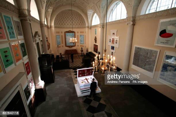 General view of the New City Church Arts Space All Hallows Church London which is hosting the new Damien Hirst exhibition featuring works inspired by...