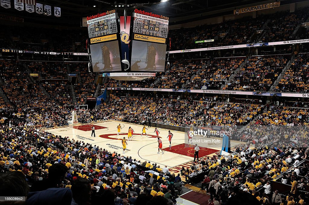 General view of the new court logo of the Cleveland Cavaliers during the game against the Washington Wizards at The Quicken Loans Arena on October 30, 2012 in Cleveland, Ohio.