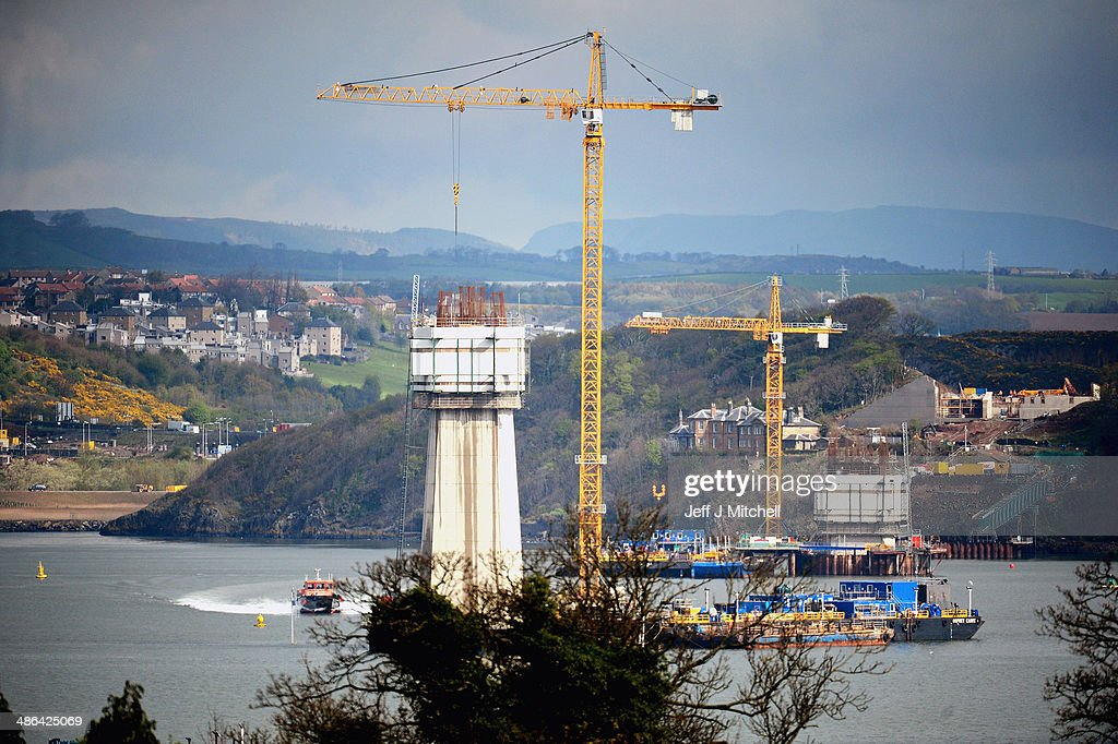 A general view of the new Forth Crossing under construction on April 24, 2014 in South Queensferry, Scotland. A referendum on whether Scotland should be an independent country will take place on September 18, 2014.