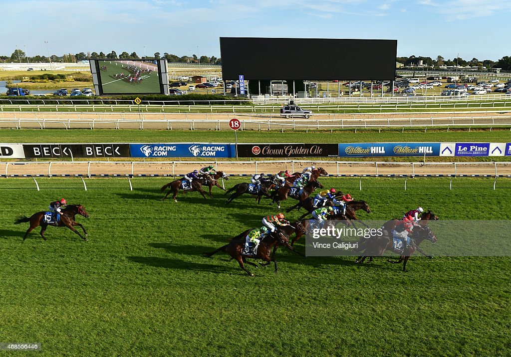 General view of the new giant screen during the running of Race 9 won by Refer on the outside during Melbourne racing at Caulfield Racecourse on April 4, 2015 in Melbourne, Australia.