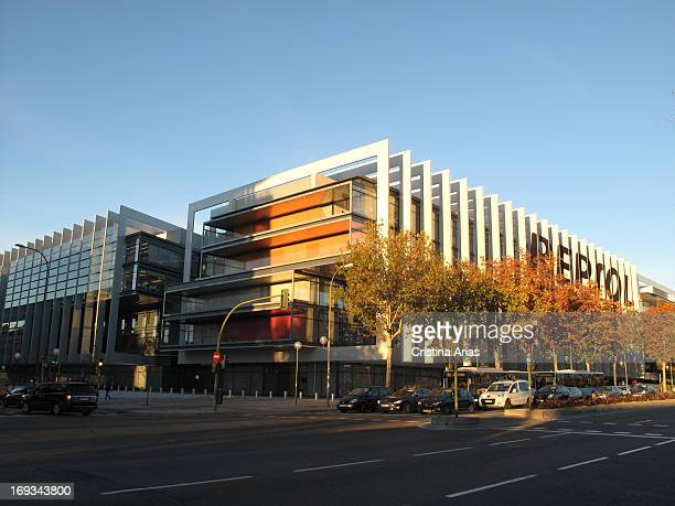 General view of the new headquarters Repsol oil company in Madrid designed by the architectural firm Rafael de la Hoz houses the corporate campus...