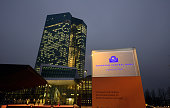 General view of the new headquaters of the European Central Bank pictured in the twilight on December 4 2014 in Frankfurt am Main Germany Mario...