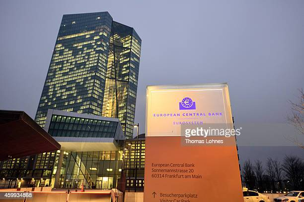 General view of the new headquaters of the European Central Bank on December 4 2014 in Frankfurt am Main Germany Mario Draghi President of the...