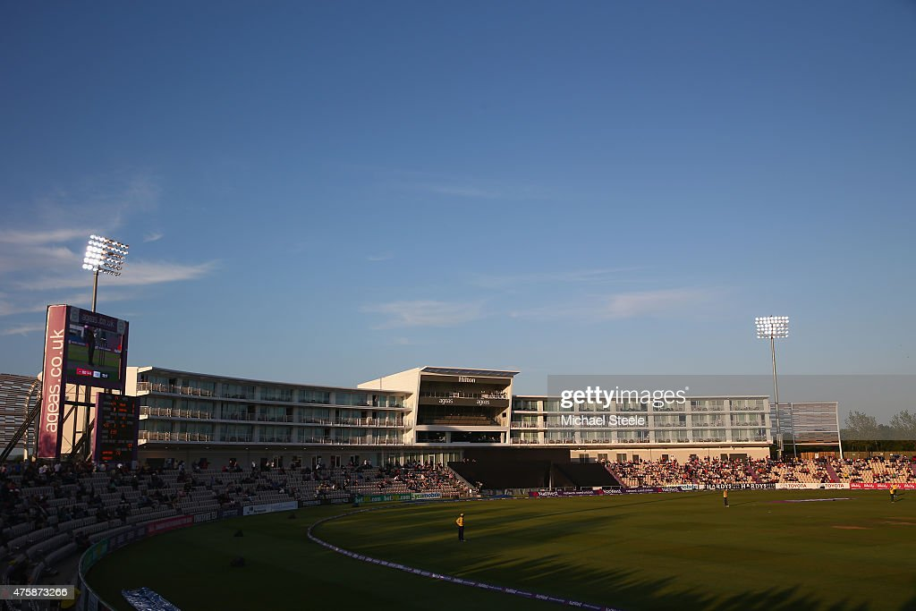 General view of the new Hilton Hotel grandstand during the NatWest T20 Blast match between Hampshire and Middlesex at the Ageas Bowl on June 4 2015...
