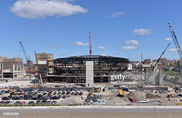A general view of the new home of the NHL Detroit Red Wings Little Caesars Arena being built along Woodward Ave in Detroit shown prior to the the MLB...