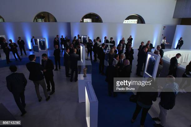 A general view of the new Italian Football Federation logo unveiling at Maxxi Museum on October 2 2017 in Rome Italy