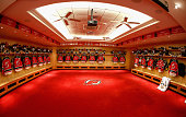 A general view of the New Jersey Devils locker room displaying their Retro jerseys prior to wearing them tonight in the game against the Pittsburgh...