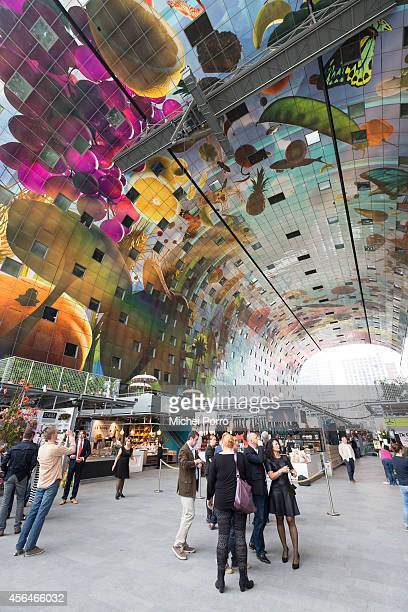 General view of the new Markthal on October 1 2014 in Rotterdam Netherlands The horseshoeshaped arch is the first indoor fresh food market in The...