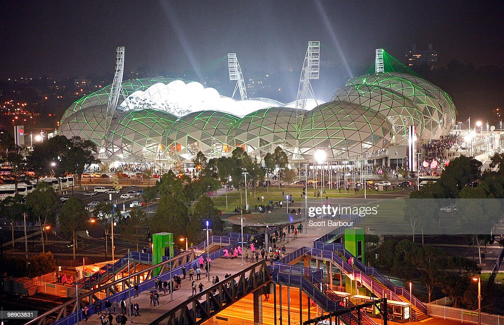 A general view of the new Melbourne Rectangular Stadium AAMI Stadium as seen from the MCG during the round seven AFL match between the Melbourne...
