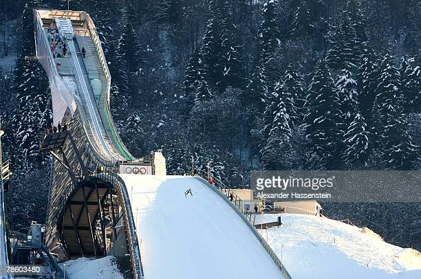 General view of the new Olympic Ski Jump Hill during the FIS Continental Ski Jumping Cup on December 21 2007 in GarmischPartenkirchen Germany