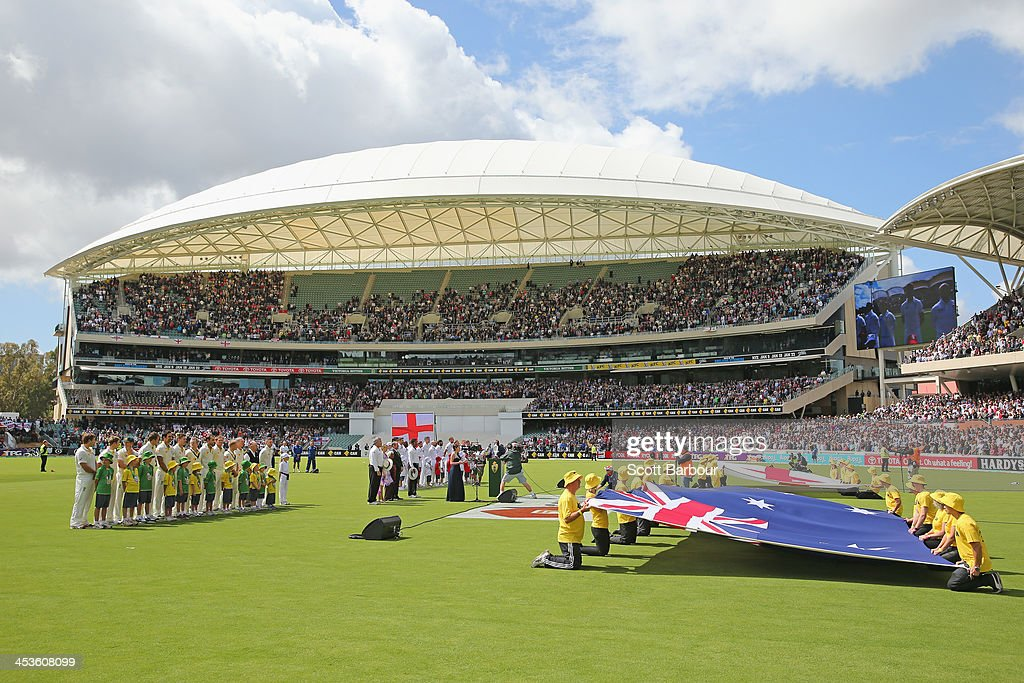 A general view of the new Riverbank Stand as the teams line up for the national anthems during day one of the Second Ashes Test Match between Australia and England at Adelaide Oval on December 5, 2013 in Adelaide, Australia.