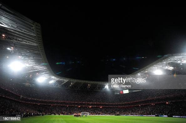 A general view of the new San Mames Stadium during the La Liga match between Athletic Club and RC Celta de Vigo on September 16 2013 in Bilbao Spain