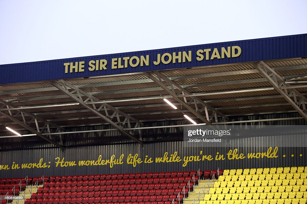 A general view of the new Sir Elton John Stand ahead of the Sky Bet Championship match between Watford and Wolverhampton Wanderers at Vicarage Road...