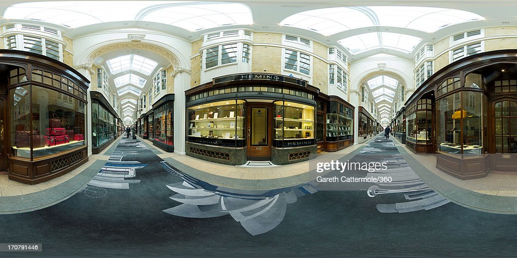 A general view of the new Skyline carpet inside the Burlington Arcade on June 18, 2013 in London, England