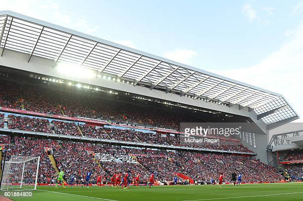 General view of the new stand during the Premier League match between Liverpool and Leicester City at Anfield on September 10 2016 in Liverpool...