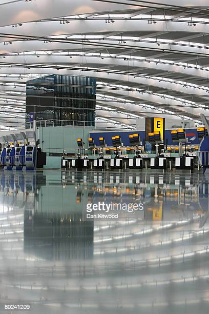A general view of the new Terminal 5 at Heathrow before it's official opening on March 14 2008 in London England Terminal 5 will be open to the...