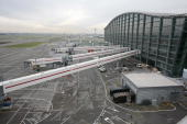 A general view of the new Terminal 5 building at Heathrow Airport is pictured in west London on March 14 2008 Queen Elizabeth II unveiled a new...