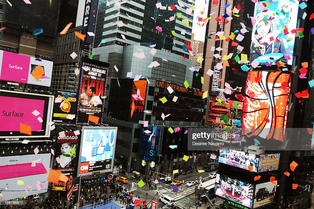 A general view of the New Year's Eve 2013 Confetti Airworthiness Test at Allison HagendorfAlliance Building on December 29, 2012 in New York City.
