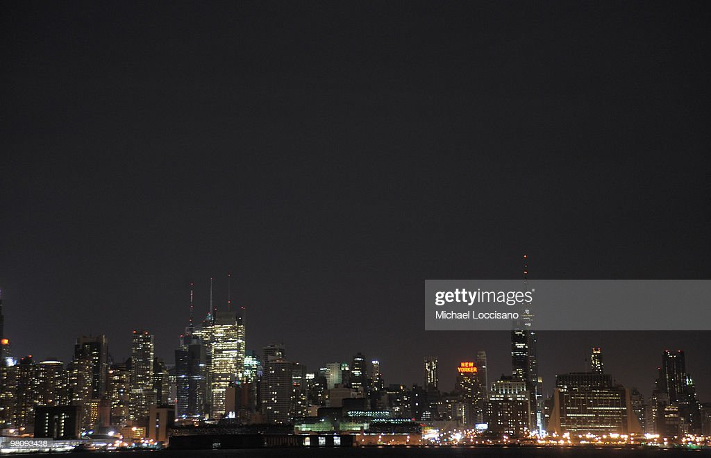 General view of the New York City Skyline is seen as the Empire State Building and Chrysler Building turn off their tower lights for one hour on March 27, 2010 in New York, United States. The Empire State Building and Chrysler Building, along with other global landmarks, turned off their tower lights starting at 8:30 PM in honor of Earth Hour.