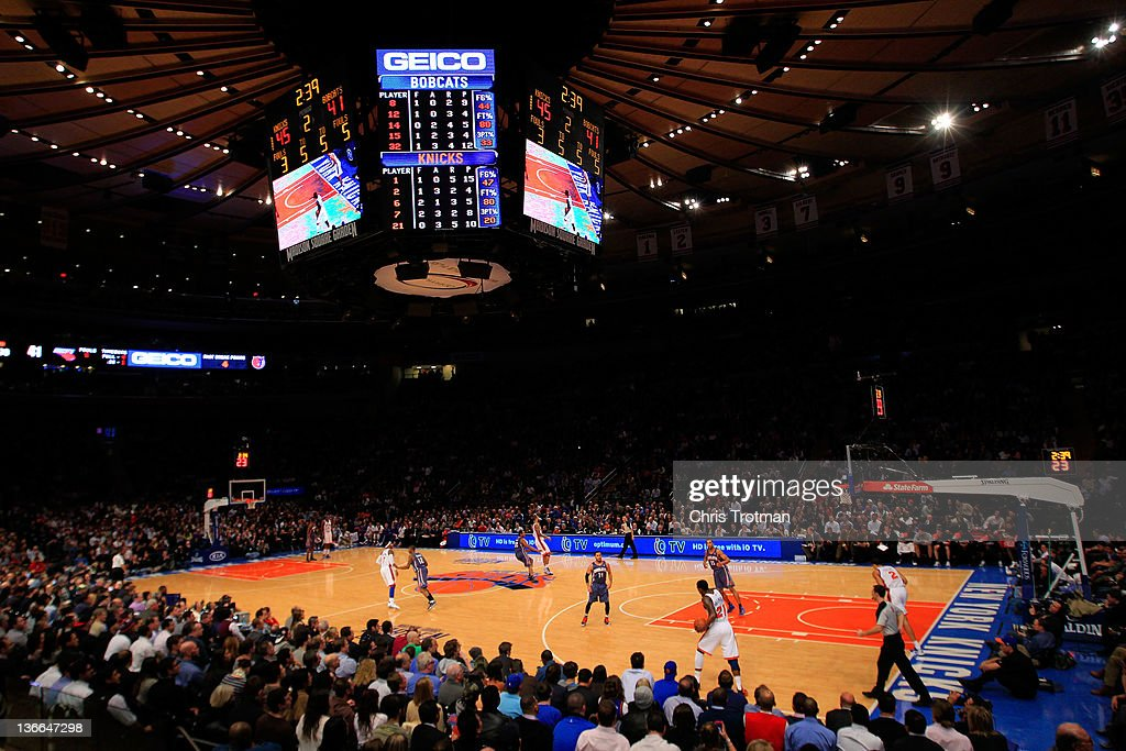 A general view of the New York Knicks playing the Charlotte Bobcats at Madison Square Garden on January 9, 2012 in New York City.