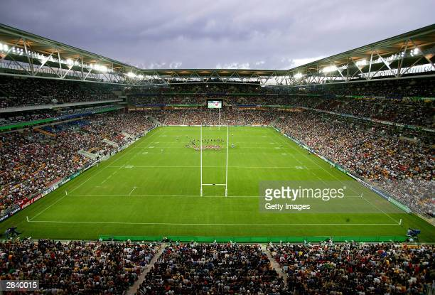 A general view of the New Zealand and Tonga teams simultaniously performing their Hakas during the Rugby World Cup Pool D match between New Zealand...