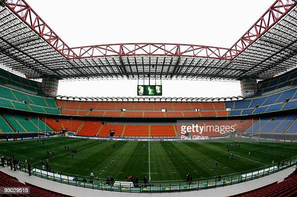 A general view of the New Zealand players training on the pitch during the Captain's Run at the San Siro Stadium on November 13 2009 in Milan Italy