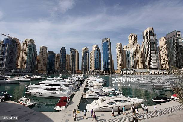 A general view of the newly developed Dubai Marina on December 2 2009 in Dubai United Arab Emirates Stock markets in the Dubai and Abu Dhabi fell...
