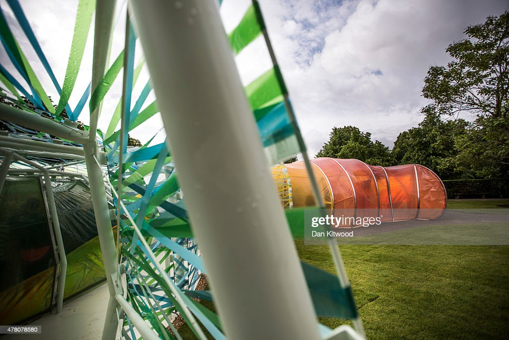 A general view of the newly installed Serpentine Gallery Pavilion designed by SelgasCano on June 22, 2015 in London, England. The Pavilion which officially opens to the public from June 25, 2015, was constructed to celebrate the 15th anniversary of the Serpentine Gallery project. This year the pavilion was designed by Spanish architects Jose Selgas and Lucia Cano and takes the form of a colourful chrysalis structure.