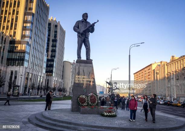 TOPSHOT A general view of the newly unveiled monument to Mikhail Kalashnikov the inventor of the AK47 assault rifle in downtown Moscow on September...
