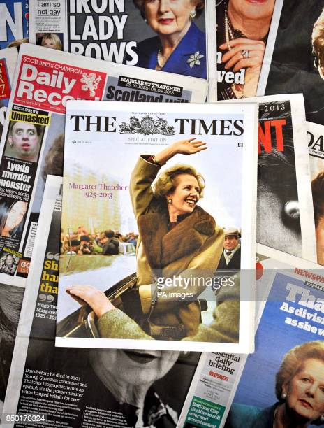 General view of the newspaper coverage from the reporting the news that the former British Prime Minister Baroness Margaret Thatcher died following a...