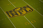 General view of the NFL midfield shield logo during the game between the Carolina Panthers and the Philadelphia Eagles at Bank of America Stadium on...