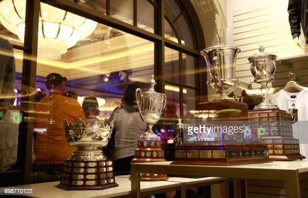 A general view of the NHL Awards trophies is seen at the Park Theater Retail Store at Monte Carlo Resort and Casino on June 20 2017 in Las Vegas...