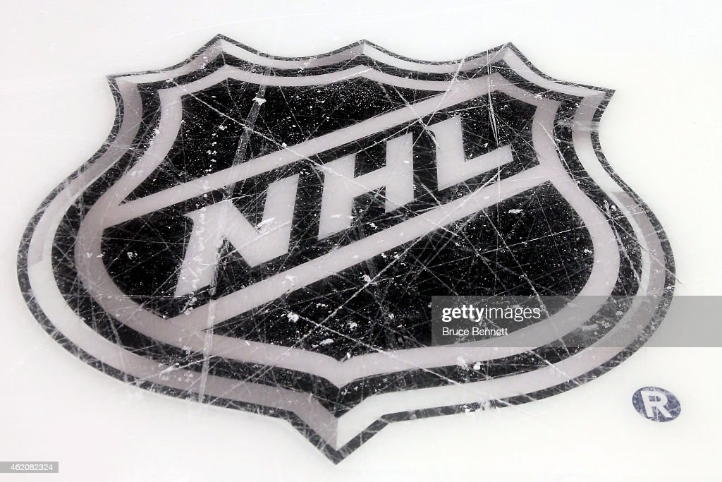 A general view of the NHL logo prior to the 2015 Honda NHL AllStar Skills Competition at the Nationwide Arena on January 24 2015 in Columbus Ohio