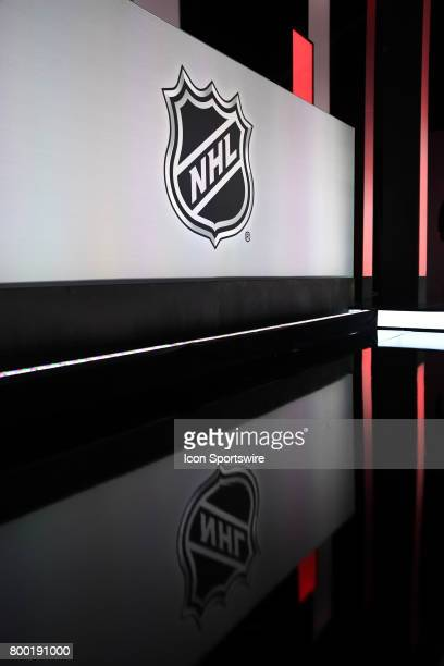 A general view of the NHL logo reflecting off the floor prior to the first round of the 2017 NHL Draft on June 23 at the United Center in Chicago IL