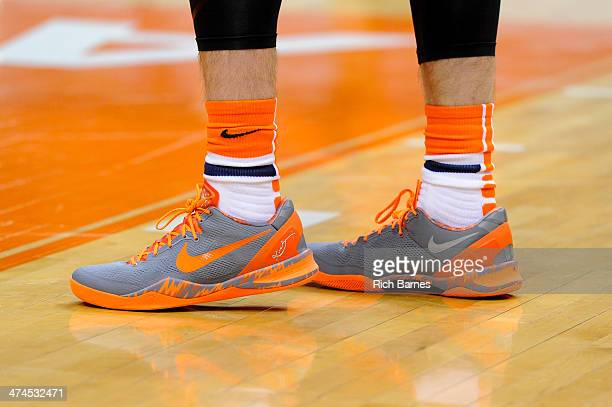 General view of the Nike sneakers and socks worn by the Syracuse Orange in the game against the Boston College Eagles at the Carrier Dome on February...