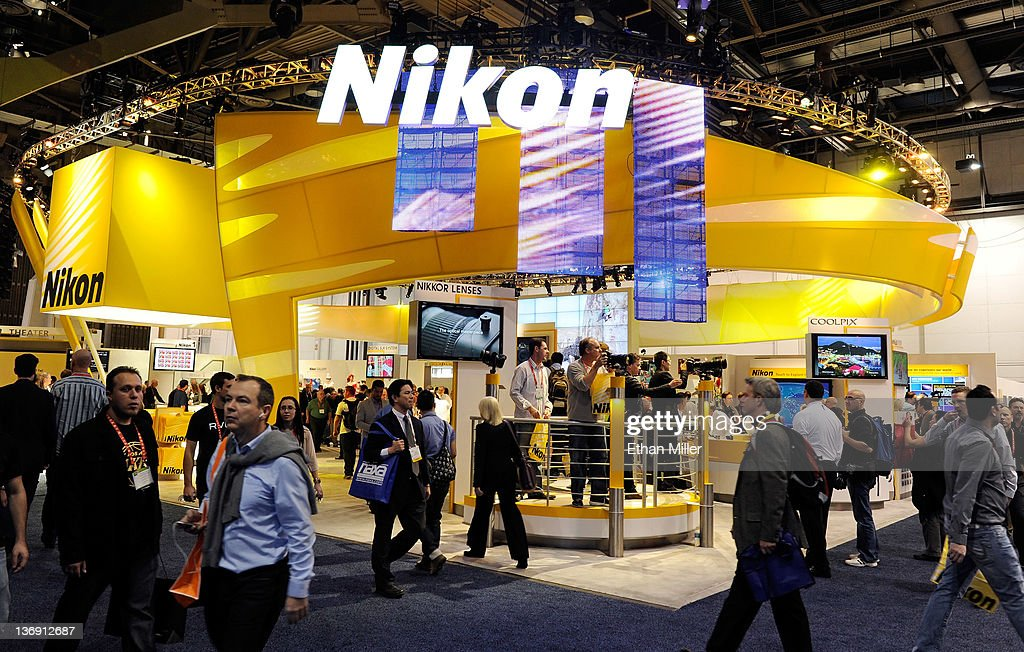 A general view of the Nikon booth at the 2012 International Consumer Electronics Show at the Las Vegas Convention Center January 12, 2012 in Las Vegas, Nevada. CES, the world's largest annual consumer technology trade show, runs through January 13 and features more than 3,100 exhibitors showing off their latest products and services to about 140,000 attendees.