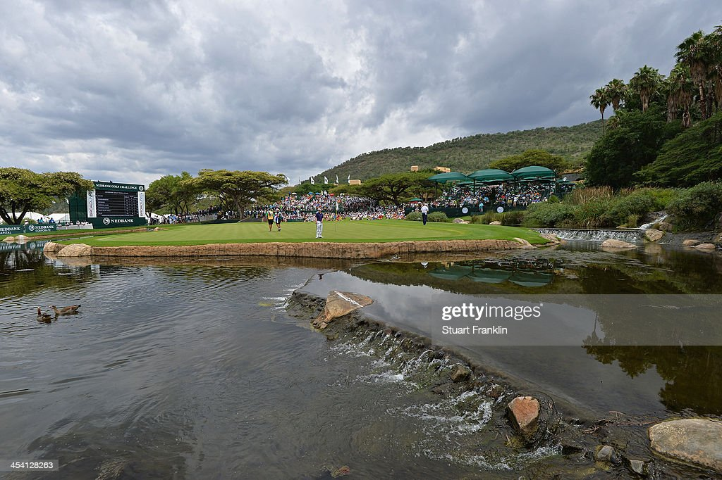 A general view of the nineth hole during the third round of the Nedbank Golf Challenge at Gary Player CC on December 7, 2013 in Sun City, South Africa.