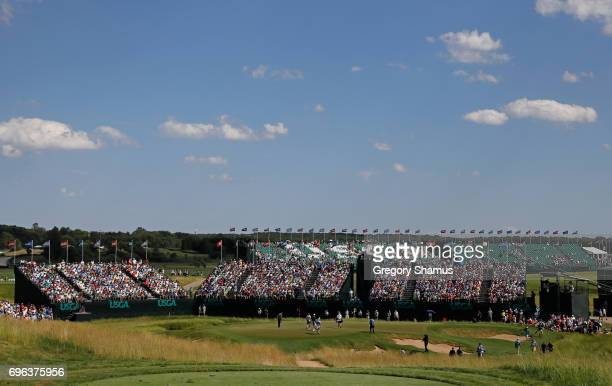 A general view of the ninth green during the first round of the 2017 US Open at Erin Hills on June 15 2017 in Hartford Wisconsin